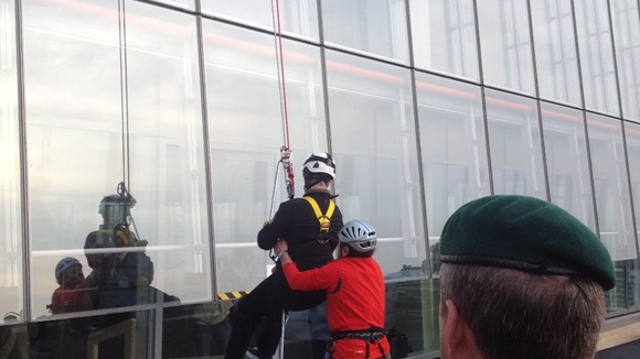 His Royal Highness completes the charity abseil.