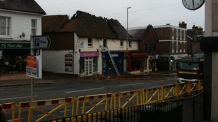 Shops damaged by fire