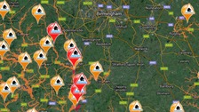 Flood warnings are in place in the Midlands