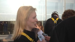 Ffion Hague talks to reporters after completing her abseil.
