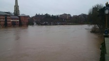 River Severn water level continues to rise in Worcester.
