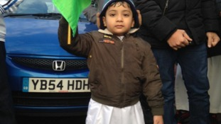 Little boy with flag