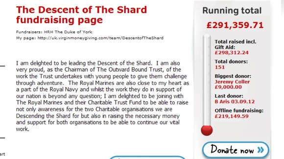Prince Andrew&#x27;s page on Virgin Money Giving.