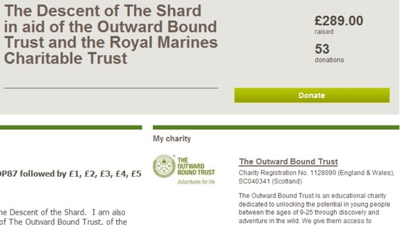 His Royal Highness&#x27; Just Giving page, which has received 53 donations so far.