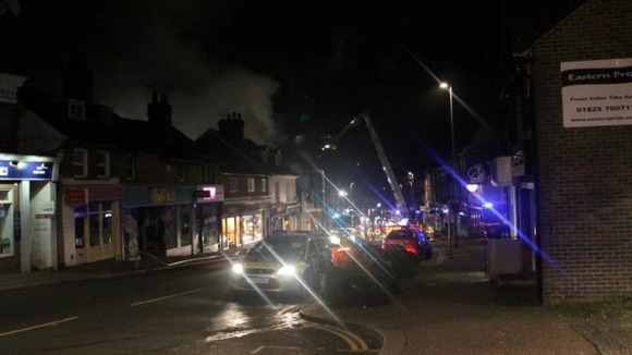 The emergency services tackle the blaze on Uckfield High Street