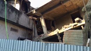 Earthquake damaged building