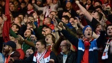 Middlesbrough fans sing in the stands during the Sky Bet Championship match at the Riverside Stadium, Middlesbrough.
