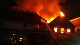 Fire takes hold of shops on Uckfield High Street