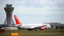 A Jet2 passenger jet at Newcastle Airport.