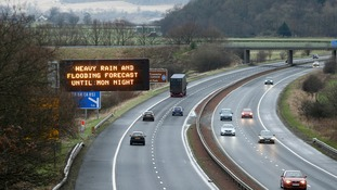 A flood warning on the M9 near Stirling in Scotland