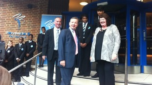 Michael Gove meets staff at Perry Beeches II The Free School in Birmingham today.