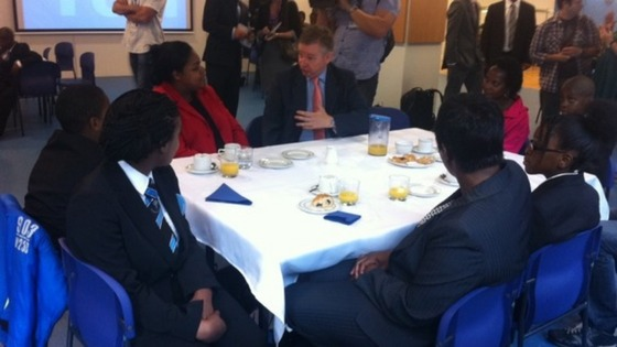 The Education Secretary talks to pupils.