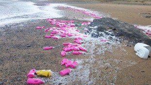 27 tonnes of pink plastic bottles set to wash up on Cornish beach