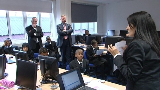 Michael Gove in a classroom in Perry Beeches II in Birmingham