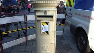 First coat of paint for Ellie Simmonds' gold post box
