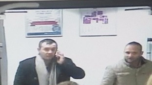 CCTV images of men police want to talk to.