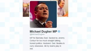 """Michael Dugher's new-look Twitter profile following his """"sacking""""."""
