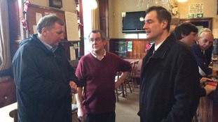 Scottish Labour's Deputy Leader Alex Rowley (left) on his visit to Hawick