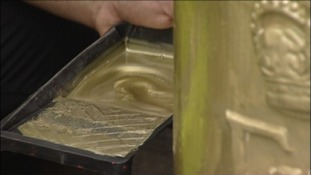 Painting it gold, a post box in Ellie Simmonds' home town