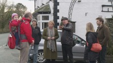 Natalie Bennett on a visit to Staveley