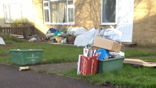 Recycling left out for collection in Odd Down in Bath