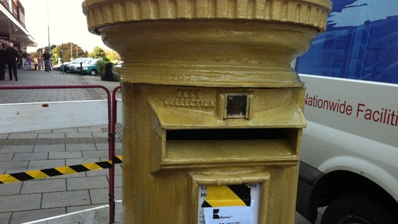 Paint dries on Ellie Simmonds gold post box