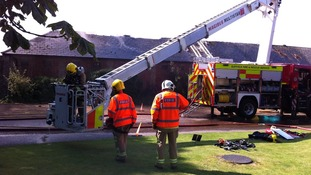 Fire crews at Bedford House Stables, Newmarket