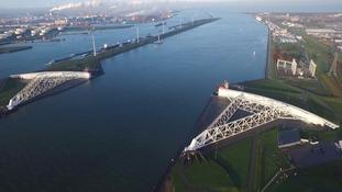 The Maeslantkering storm surge barrier near Rotterdam.