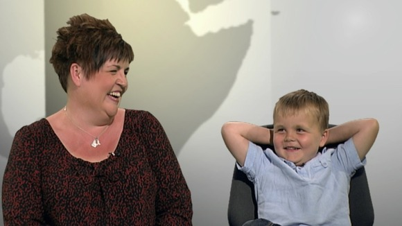 Six-year-old Alex Logan speaking to ITV News