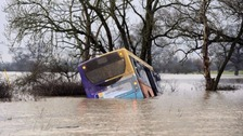 School bus stuck in flood water between Tollerton and Newton-on-Ouse yesterday