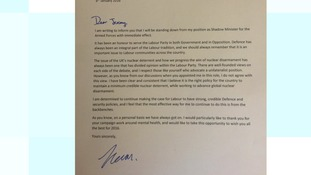 Kevan Jones' resignation letter.