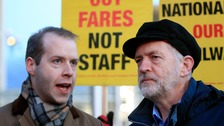 Labour Party leader Jeremy Corbyn (right) with shadow rail minister Jonathan Reynolds, who has now resigned from the Labour front bench.