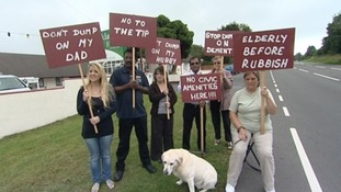 Protesters outside the care home