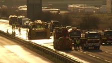 There was traffic chaos on the M5 near Bridgwater on 6 January after a lorry overturned.