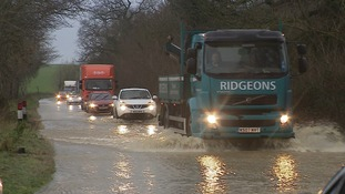 Flooded road between Halesworth and Bungay in Suffolk.