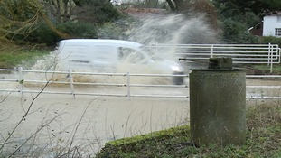 The ford was in full flood at Hempnall in south Norfolk.