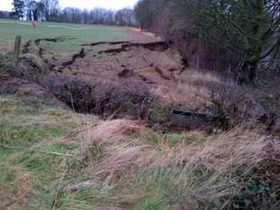 The landslip at Farnley Haugh, near Hexham in Northumberland