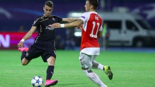 Ivo Pinto in action for Dinamo Zagreb against Arsenal in the Champions League.