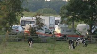 Police at the scene in Melton Mowbray