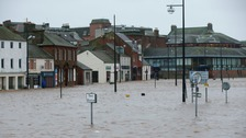 The Whitesands in Dumfries was flooded by Storm Frank.