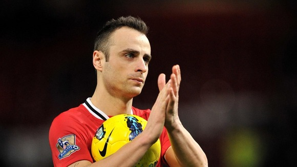 Dimitar Berbatov with the ball at Old Trafford football