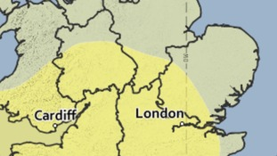 The area covered by the yellow weather warning for heavy rain on Saturday.