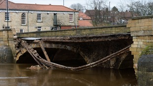 The damaged bridge over the River Wharfe in Tadcaster
