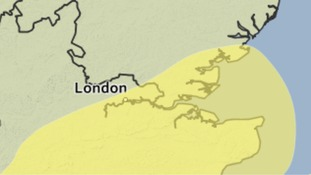 Area of South East Essex which is covered by the weather warning for heavy rain.