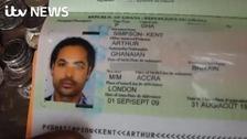 Arthur Simpson-Kent's passport was still in his hideout on Sunday.