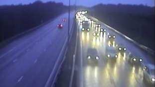 Traffic building up on the M11 southbound close to the M25 interchange in Essex.