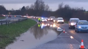 The A414 between Harlow and Hertford is down to a single lane.