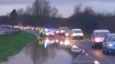 Flooding on the A414 between Harlow and Hertford.