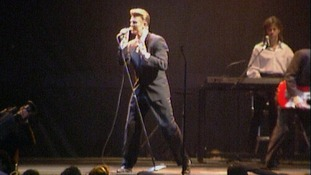 David Bowie in concert at Milton Keynes Bowl in August 1990.