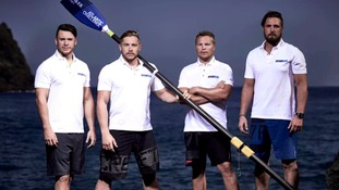 A team of old school friends from Suffolk have taken the lead in the world's toughest rowing race across the Atlantic.